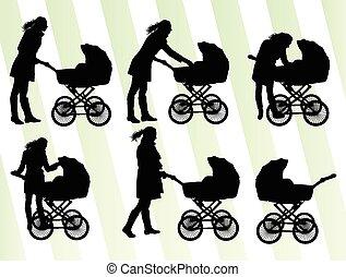 csecsemő, vektor, babakocsi, anya