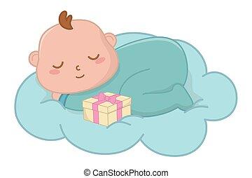 csecsemő, vektor, felhő, ábra, alvás