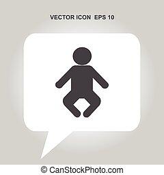 csecsemő, vektor, ikon