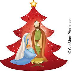 csecsemő, vektor, mary's, fa, józsef, fegyver, színhely, christmas nativity, háttér, piros, jézus