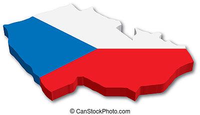 cseh, térkép, lobogó, 3