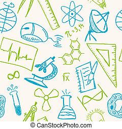 csekkszámlák, motívum, seamless, tudomány