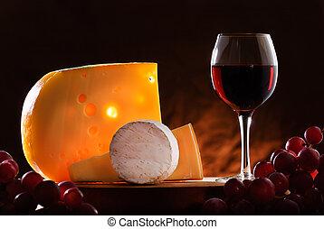 csendélet, bor., szőlő, sajt