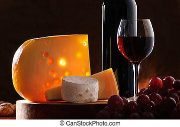 csendélet, bor, szőlő, sajt