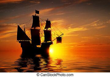 csendes, hajó, öreg, óceán, kalóz, ősi, sunset.