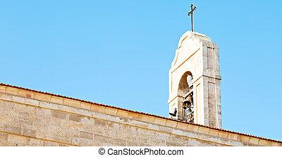 csengő, antik, tiszta égbolt, templom