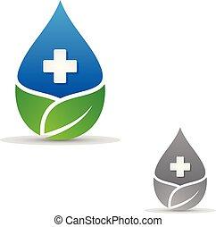 cseppecske, fehér, levél növényen, jelkép, orvosi, háttér, egészség, kereszt