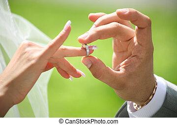 cserél, gyűrű, esküvő