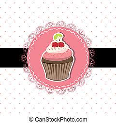 cseresznye, cupcake, kártya, meghívás