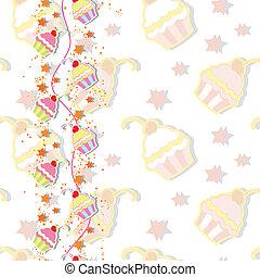 cseresznye, cupcake, színes, kártya, meghívás