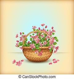 cseresznye, eredet, köszönés, wicker kosár, menstruáció, kártya