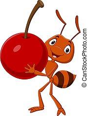 cseresznye, karikatúra, szállítás, hangya, csinos