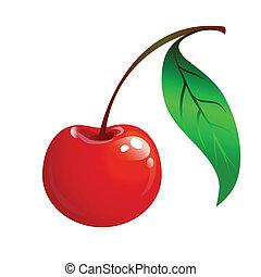 cseresznye, levél növényen, zöld, érett, piros