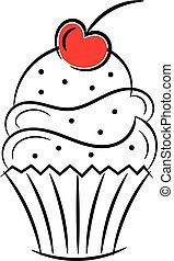 cseresznye, skicc, cupcake, tető, elszigetelt