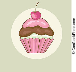 cseresznye, születésnap kártya, cupcake.