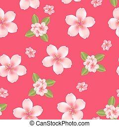 cseresznye virágzik, háttér, seamless
