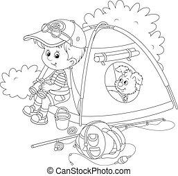 cserkészfiú, kempingezés sátor