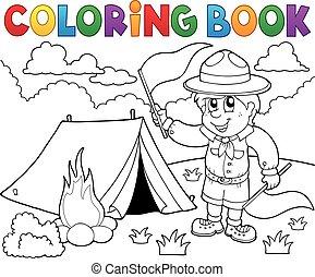 cserkészfiú, színezés, zászlók, könyv