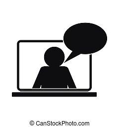 csevegés, online, egyszerű, ikon, mód
