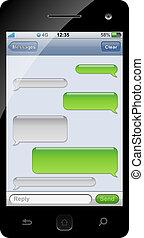 csevegés, sablon, space., sms, smartphone, másol