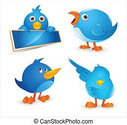 csicsergés, állhatatos, madár, karikatúra, ikon