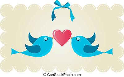 csicsergés, szeret, párosít, madarak