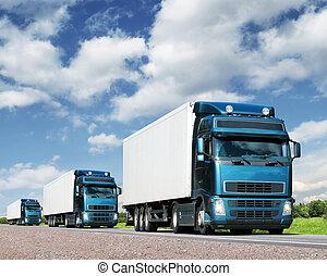 csillék, szállítás, konvoj, autóút, rakomány, fogalom