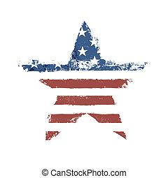 csillag alakzat, eps10., amerikai, jelkép., lobogó, vektor, nyomtat