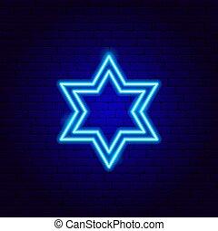 csillag cégtábla, neon, zsidó, dávid