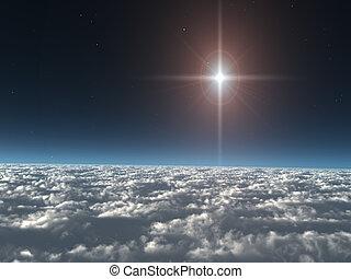 csillag, elhomályosul, felül