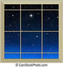csillag, fényes, through ablak
