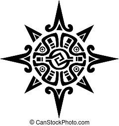 csillag, nap, jelkép, mayan, incan, vagy