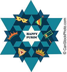csillag, zsidó, purim., dávid, kifogásol, ünnep, boldog