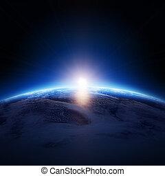 csillaggal díszít, felhős, földdel feltölt, napkelte, felett, óceán, nem