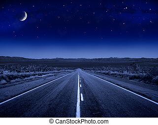 csillagos, út, éjszaka