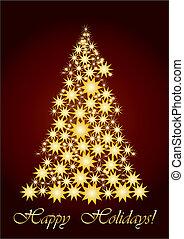 csillagos, karácsony, arany, fa