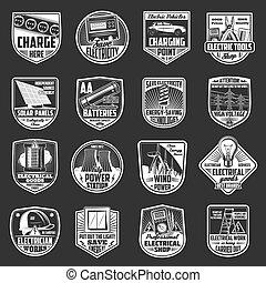 csillogó méter, elektromos, gumó, drót, ikonok, elem