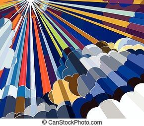 csillogó rays, elhomályosul, színes
