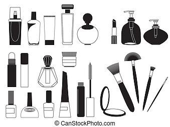 csinál, kozmetikai, gyűjtés, feláll, termékek, fehér, .vector
