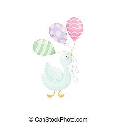 csinos, ábra, háttér., barka, vektor, fehér, balloons.