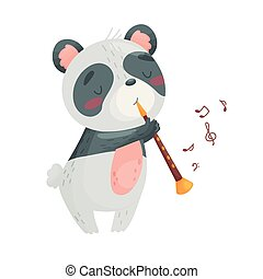 csinos, ábra, háttér., vektor, pipe., fehér, panda