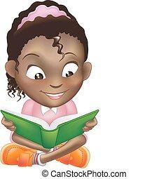 csinos, ábra, könyv, black lány, felolvasás