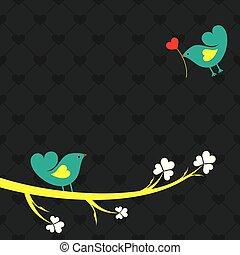 csinos, ábra, kedves, vektor, madarak, kártya