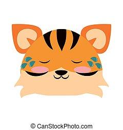 csinos, ábra, tiger, vektor, állat, karikatúra