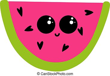 csinos, ábra, vektor, görögdinnye, háttér, fehér, szemek