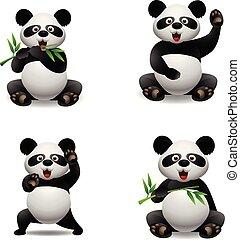 csinos, állat, panda, karikatúra