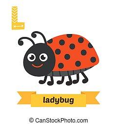 csinos, állatok, állat, furcsa, abc, l, gyerekek, ladybug., vector., letter., karikatúra
