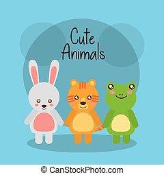 csinos, állatok, béka, tiger, üregi nyúl, csecsemő, barátságos