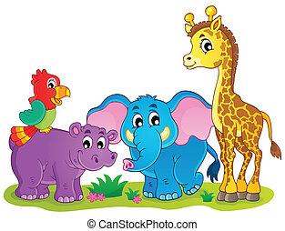 csinos, állatok, kép, téma, 4, afrikai