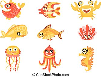 csinos, állhatatos, alkotások, tenger, színes, víz alatti, vektor, betűk, life., ábra, világ, tengeri, karikatúra